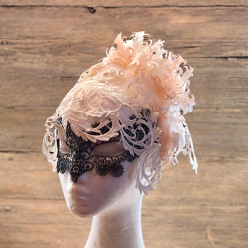 Lace headband cocktail ascinator with Feather flower