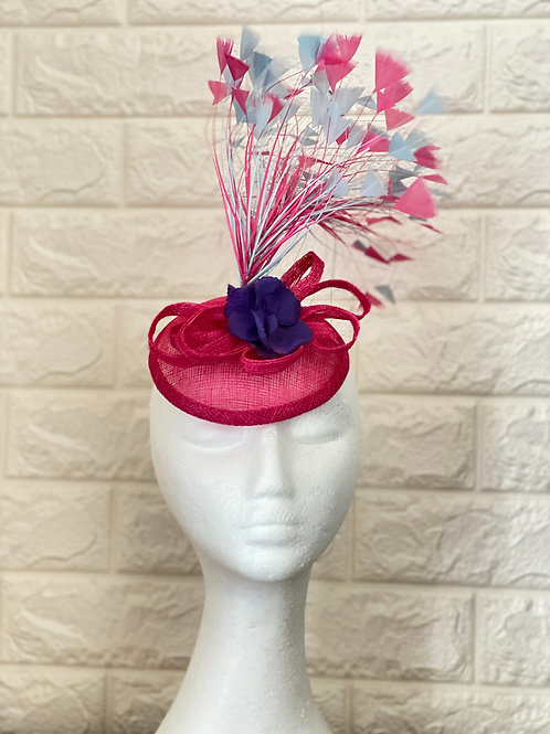 Pink Fascinator, Ascot Hat, Cocktail Hat