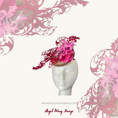 Fuchsia lace feather flower Fascinator, Ascot Hat, Derby Fascinator