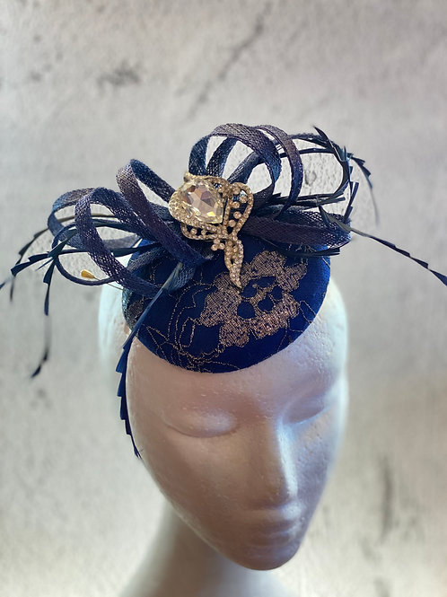 Navy Blue lace fascinator with crystal and feather. cocktail hat
