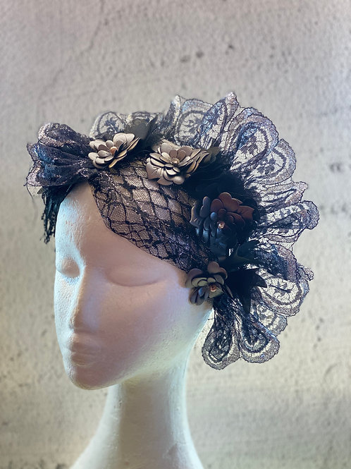 Lace Headband, lace fascinate, Fascinator headband, leather flower headend