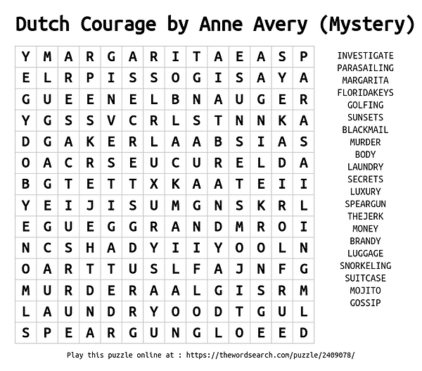 Dutch Courage Word Search by Anne Avery