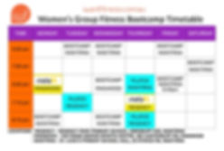 Timetable of sessions at I Want Fitness