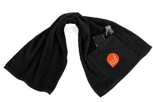 IWF Black Training Towel with Pocket