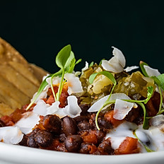 Black bean chilli – green onion salsa – coconut sour cream