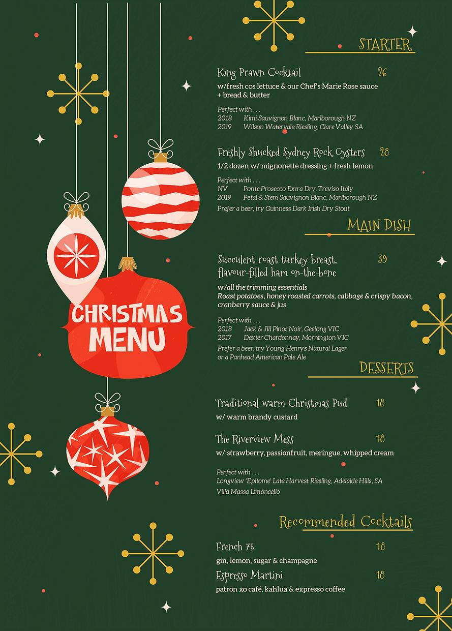 Christmas Menu the Riverview Hotel Balmain