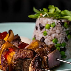 Eye fillet steak skewers – rice + beans + peas – paprika - sour cream (x2)