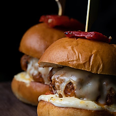 House made chorizo sliders – jack cheese – red peppers - garlic mayo (x2)
