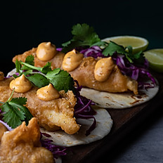 Baja fish tacos – red slaw – burnt chilli mayo (x2)