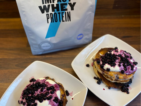 Lemon and Blueberry Protein Pancakes