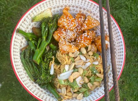 Honey Sesame Chicken with Peanut Noodles
