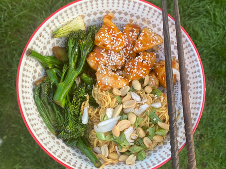 Honey Sesame Chicken with Peanut Noodles