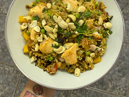 Indian Fried Rice with Salmon