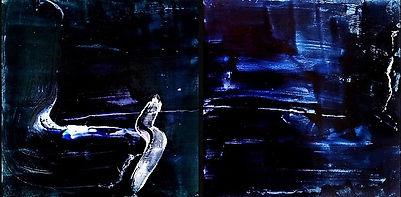 """Fine Art Gallery Saint Tropez Gianni Fasciani - Painting """"Nocturne"""" 67 x 33 cm"""