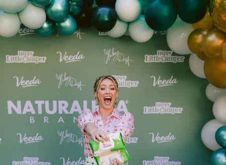 HILARY DUFF LAUNCHES HAPPY LITTLE CAMPER AND VEEDA