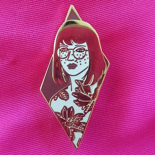 Enamel Pin Floral Girl