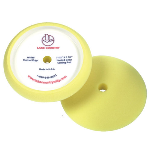"""Lake Country 7.5"""" Yellow Curved Edge Rotary Cutting Pad"""
