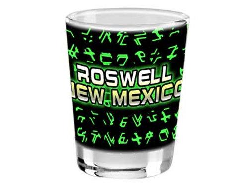 Alien font shot glass