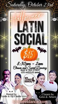 HALLOWEEN LATIN SOCIAL 3rd street dance october 23rd saturday events salsa bachata dj live social dancing 8558 w. 3rd street los angeles ca 90048
