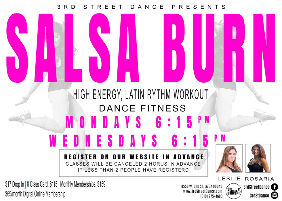 Experience Latin America with this lively dance fitness class that will help you feel the burn and shed those extra calories with Salsa Burn!