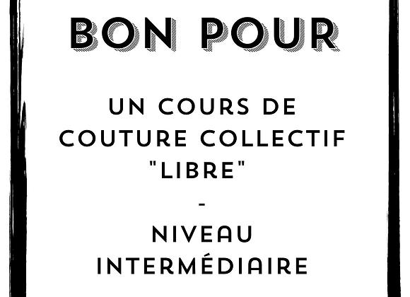 Bon pour un cours collectif de couture libre - niveau intermédiaire