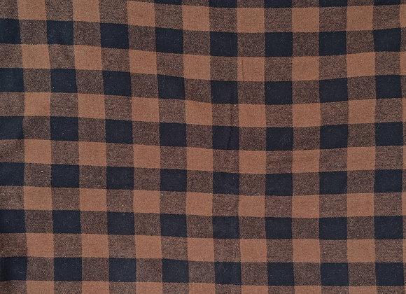 Tissu lainage carreaux brun rouille