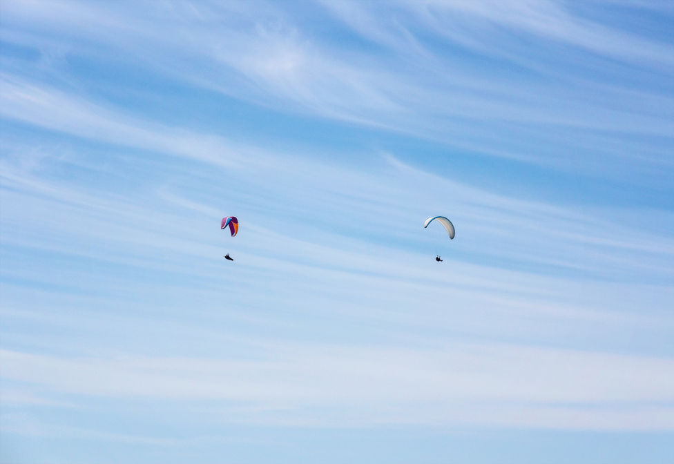 Paragliders in Normandy