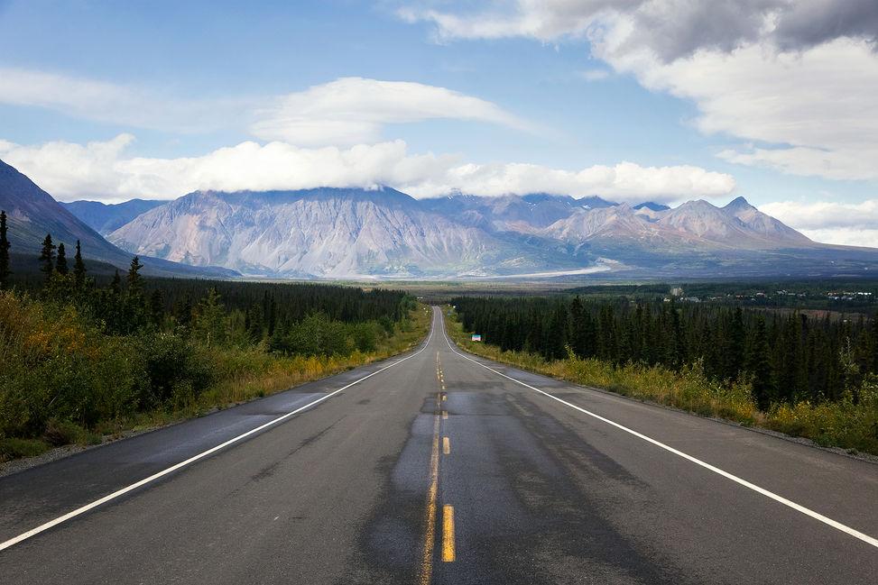Highway 1 nearby Kluane National Park, Yukon, Canada