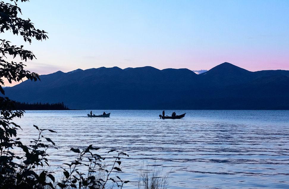 Fisherman on Skilak Lake, Alaska, US