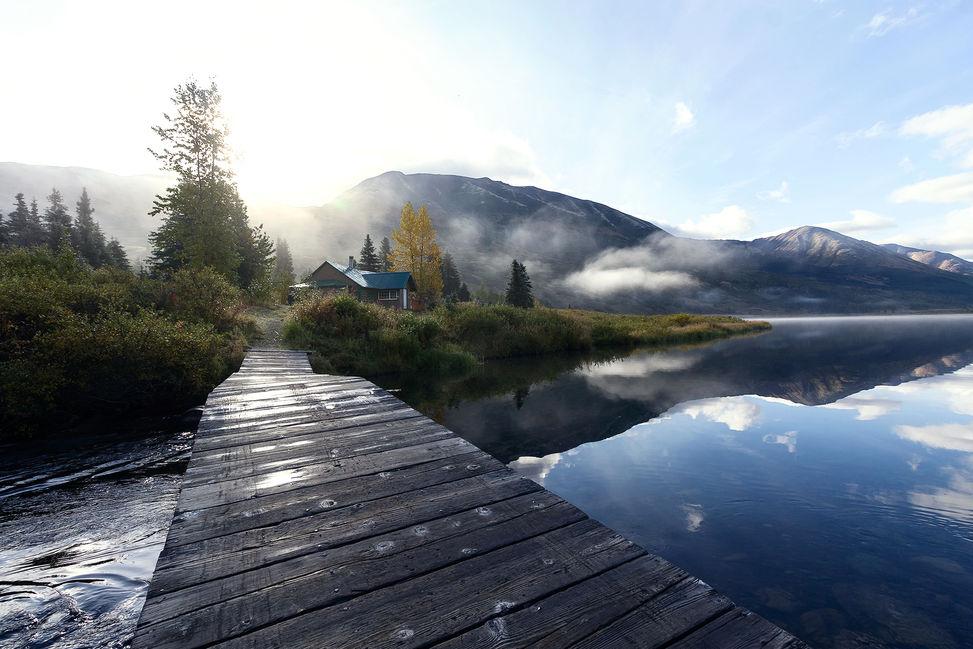 House on the lake, Alaska, US