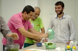 equipe funcionários aula culinária