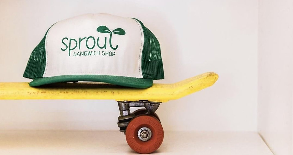 sprout hat and skateboard