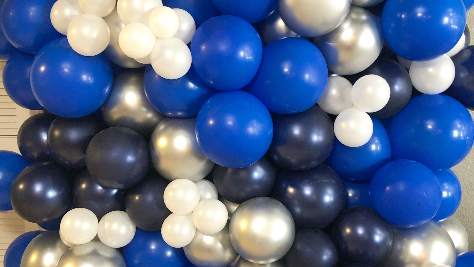 Blue and Silver Balloon Wall
