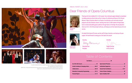 Introductory two-page spread for Opera Columbus  Annual Report