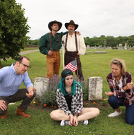 Cast of The Turkey Men at the Pleasant Cemetery graves.