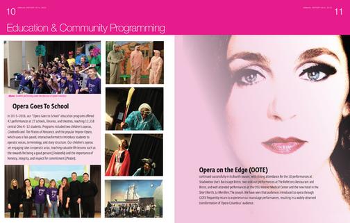 Interior two-page spread for Opera Columbus Annual Report