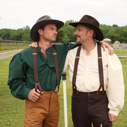 """James Harper and Ross Shirley as """"The Turkey Men"""""""