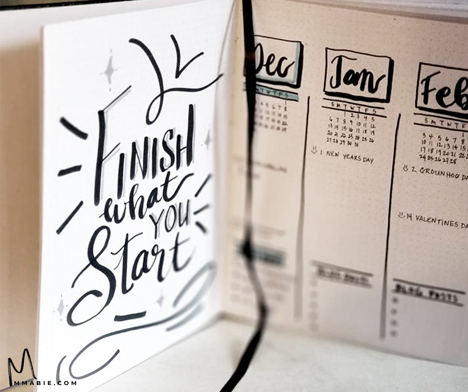 Quote on the front page and my 2019 future log.