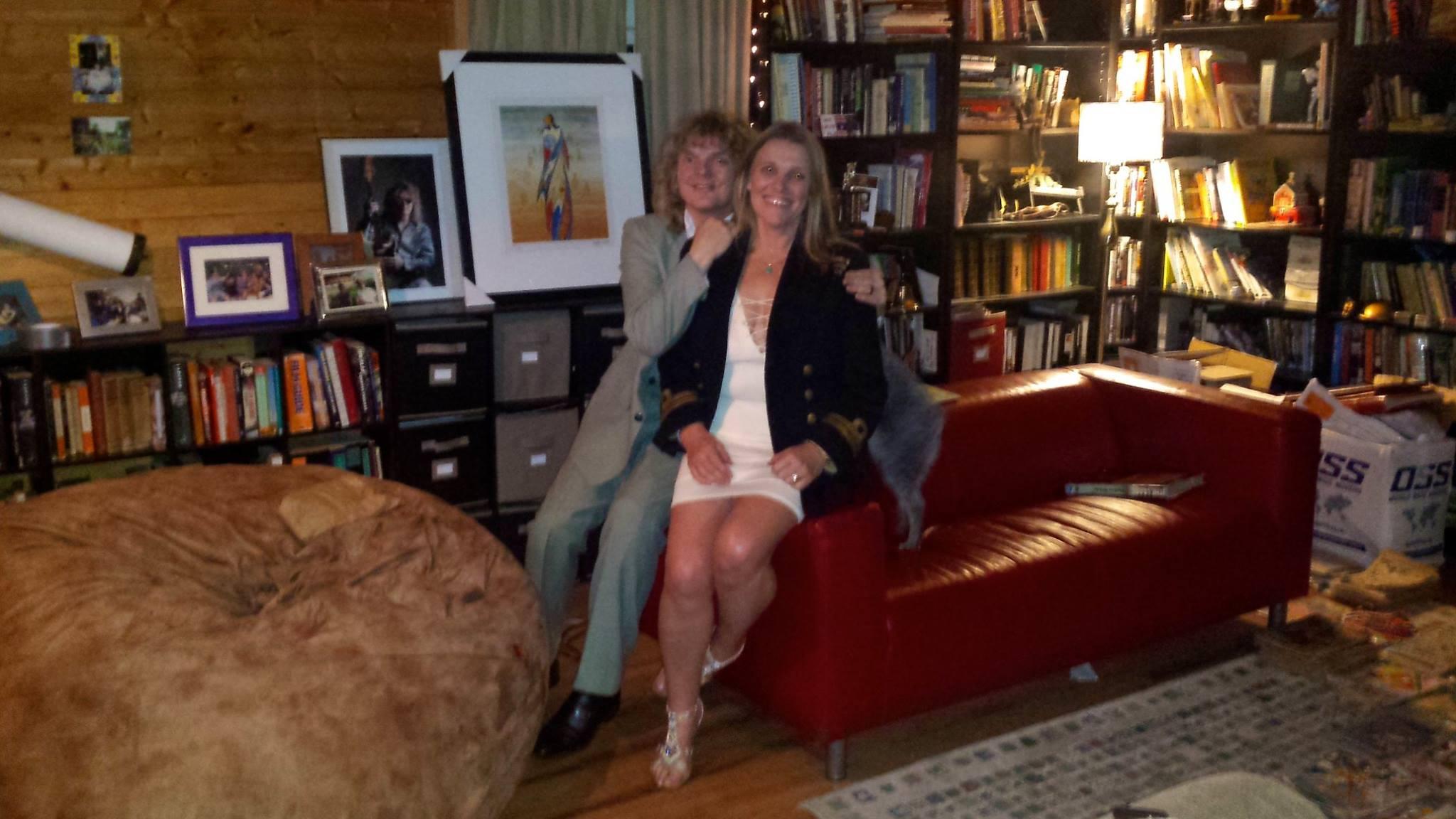 Helen wearing her dad's navy coat