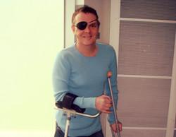 Carl on crutches 2008