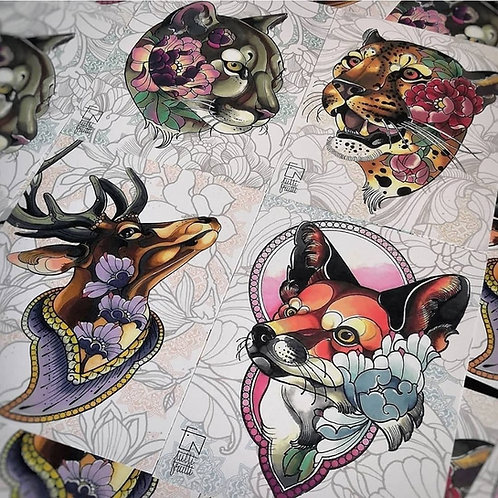 Tutti Print - Animaux Fleuris (le set des 4 animaux)