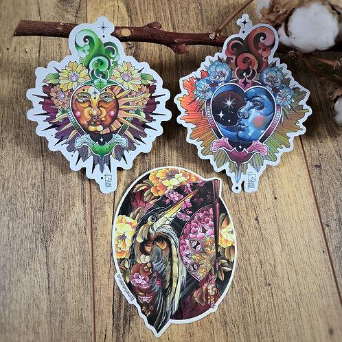 Tutti Stickers - Lune sacrée + Soleil sacré + Héron