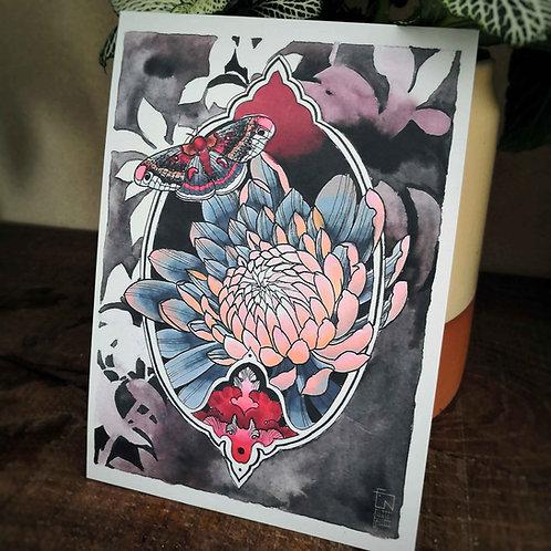 Tutti Carte postale - chrysanthème Bleu