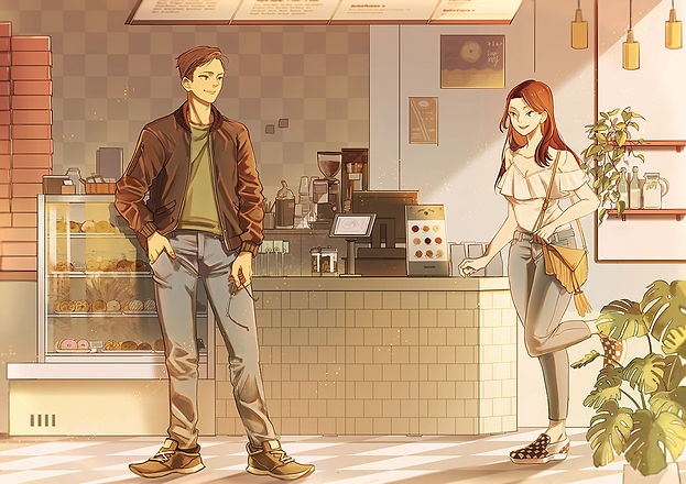 Illustration of Alex and Jasmine in a donut shop