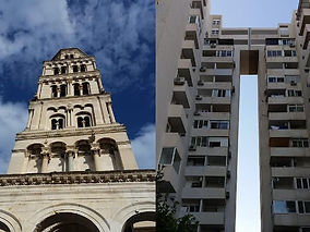 the belltower of the Cathedral of Sveti Duje in Split and a building from the 70s in Trstenik- a neighbourhood in Split, Croatia
