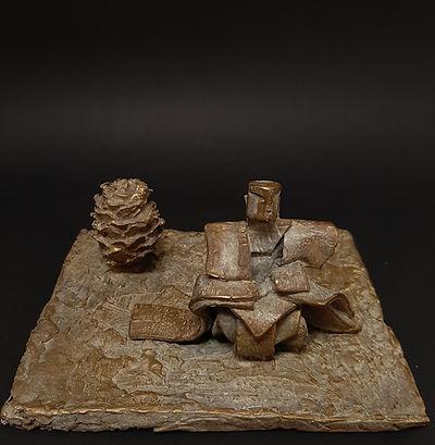 Monde Flottant bronze P.U. - Sculpture bronze - Cadeau bronze - art – luxe – Galerie – Pontrieux - Zina-o - Asie - japon - art martiaux - zen - méditation - presse papier - sculpure contemporaine - sculpture abstraite -