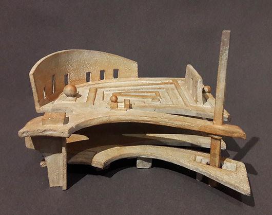 ZINA-O Jardins d'Atlantide - Sculpture bronze - Cadeau bronze - art – luxe – Galerie – Pontrieux - Zina-o - lettre hébrahîque - architecture - jardin - juif - hébreu -  MEM -