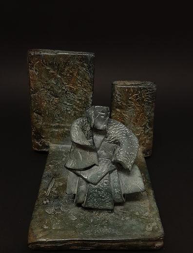 Le Lettré bronze P.U. - Sculpture bronze - Cadeau bronze - art – luxe – Galerie – Pontrieux - Zina-o - Asie - japon - art martiaux - zen - méditation - presse papier - sculpure contemporaine - sculpture abstraite -