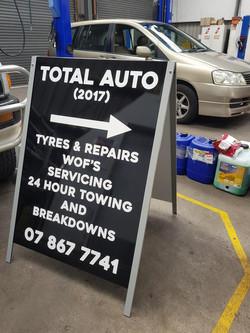 Total Auto 'A' board sign