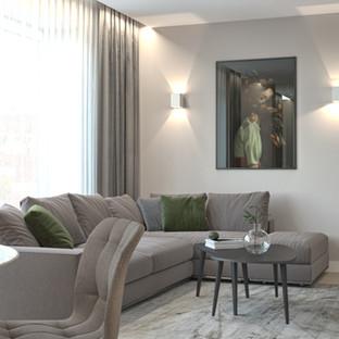 Švelnių spalvų buto interjeras